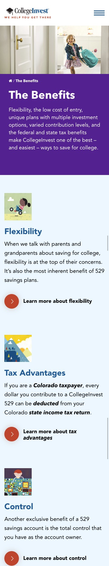 College Invest website mobile