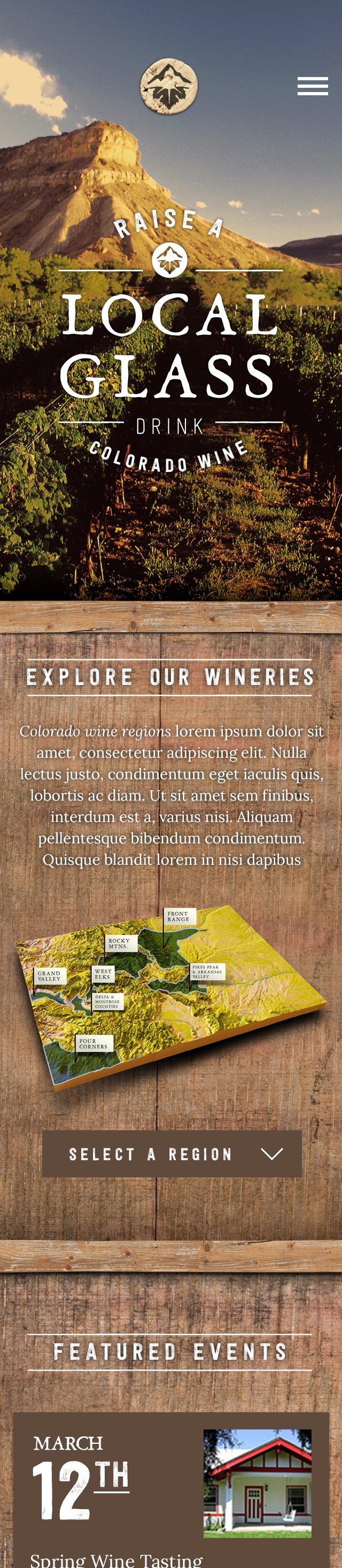 Colorado Wine website mobile