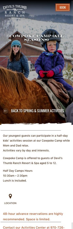 Devil's Thumb Ranch website mobile