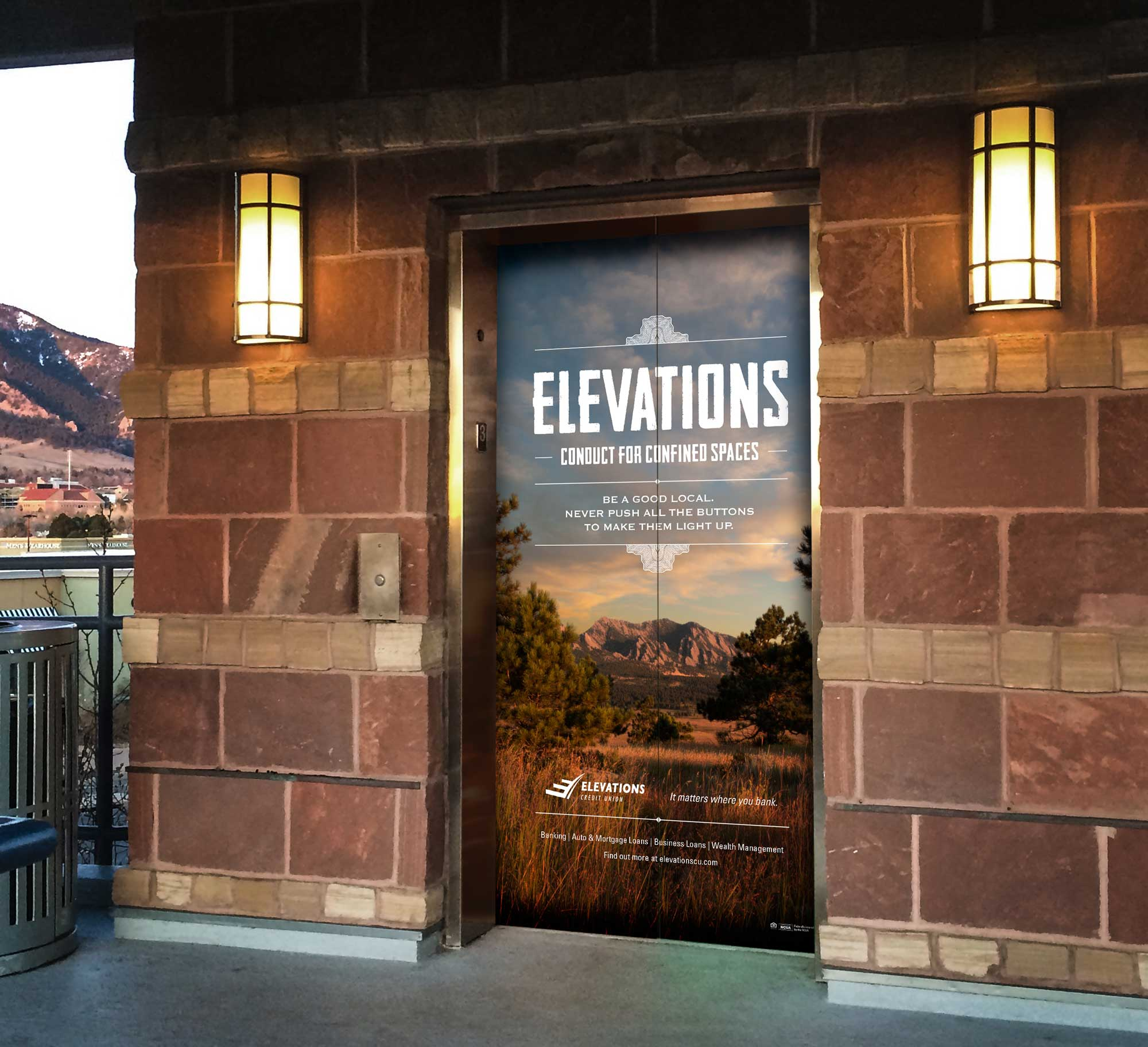 Elevations Credit Union elevator wrap