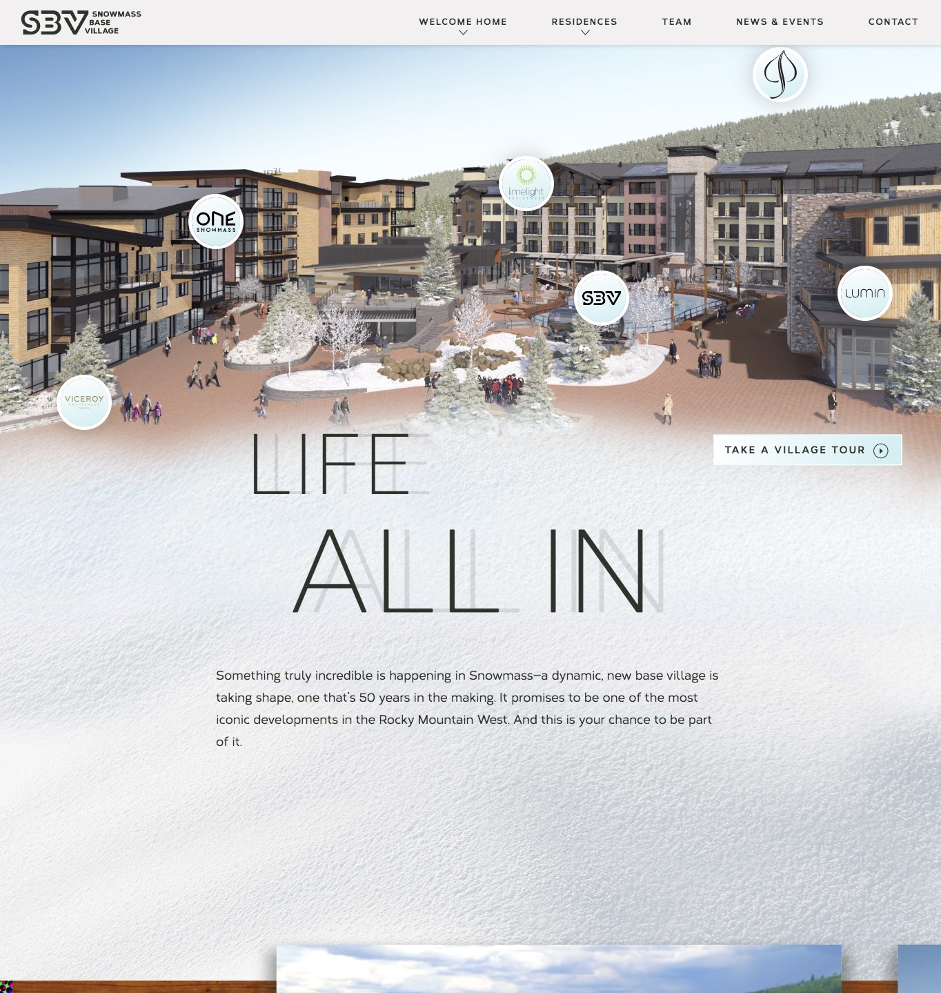 Allinsnowmass SBV website mock