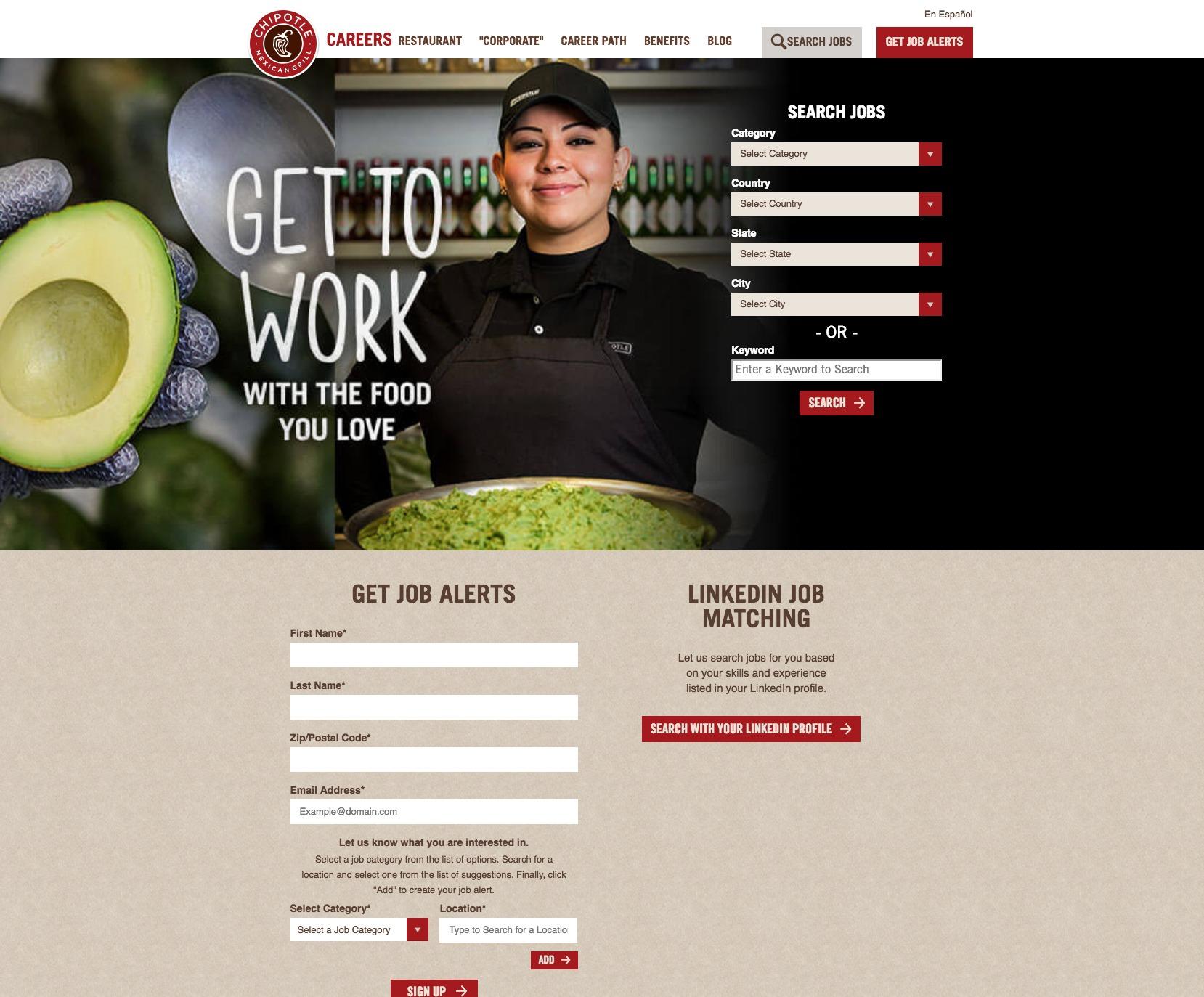 Chipotle website mock