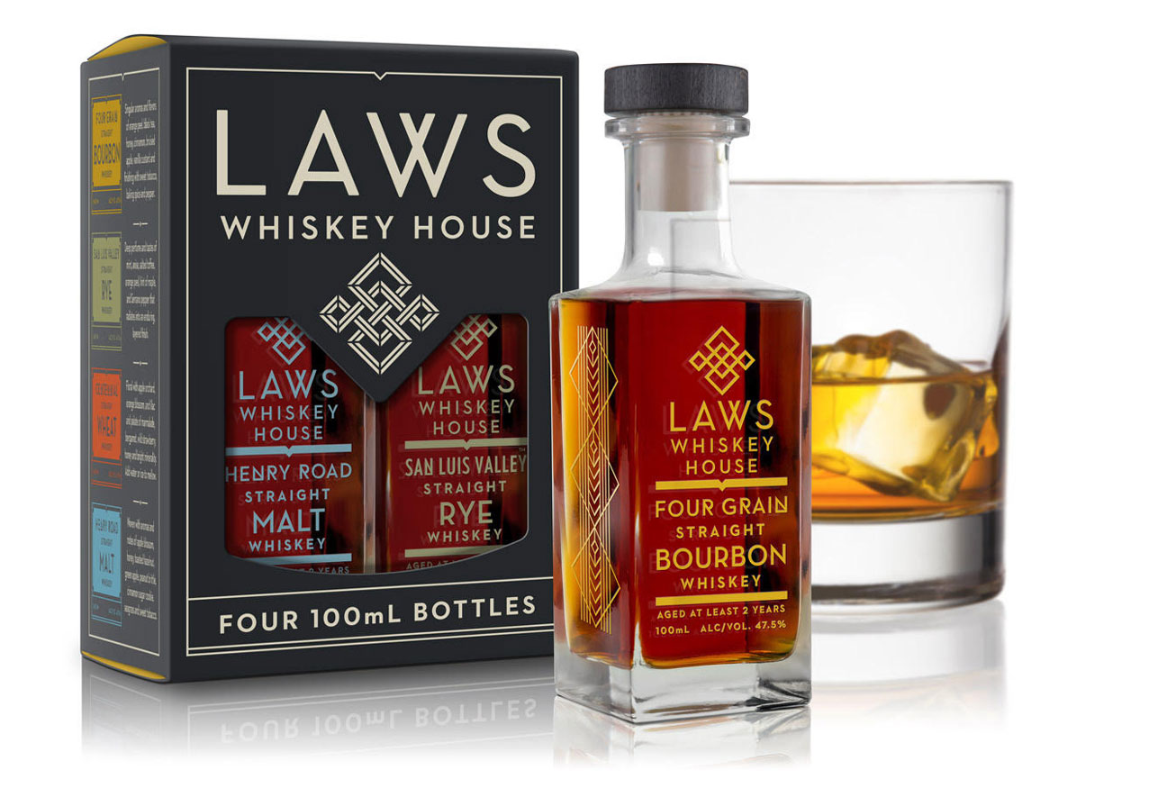 Laws Whiskey House packaging and identity