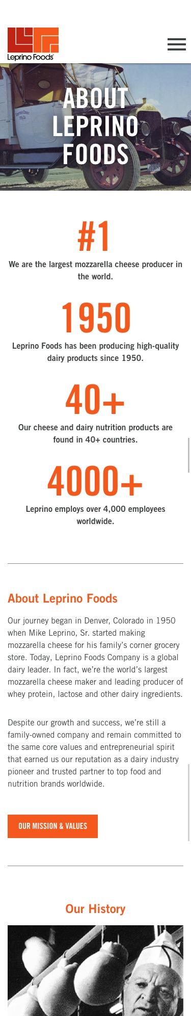 Leprino Foods website mobile